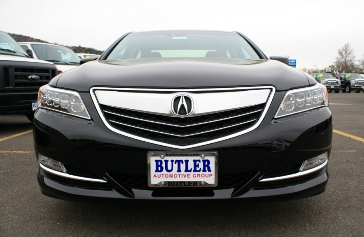 Up close and personal with a 2014 Acura RLX in Crystal Black Pearl.