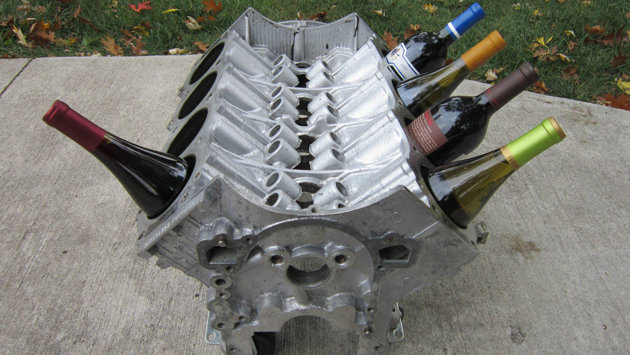 V8 Engine Block Wine Rack / Image courtesy: Ebay